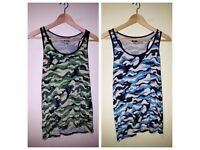 AS NEW | 2 Men's Vest Bundle | WANG JIANG Green & Blue Camouflage Vests | Size Large | FASHION