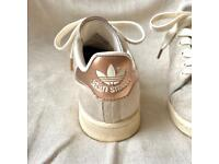 Adidas suede trainers with copper/rose gold trims UK