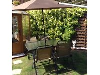 Garden furniture set, table, 4 chairs, parasol - bronze / brown