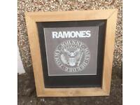 Ramones fabric logo in handmade frame.