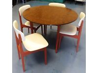 BEST OFFER: Up-cycled Retro Drop Leaf Dining Table & Chairs Set x 4. Walnut Veneer Top.