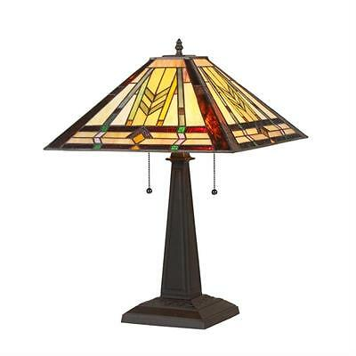 """Tiffany Style Stained Glass Mission 2 Light Table Lamp 16"""" Shade Handcrafted New"""