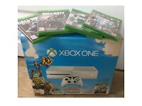 Xbox one white 500gb + 4 games , excellent cond.