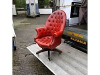 queen Ann antique button back swivel chair