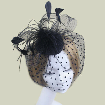 Vintage Bird Cage Hair Clip Feather Fascinator Hat Face Veil Black