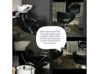 Salon backwash + two chairs