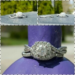 White Gold Engagement and Wedding Band