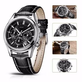 Men's Quartz Wrist Watches Chronograph Stopwatch with Black Leather