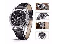 Men's Quartz Wrist Watches Chronograph Stopwatch with Black Leather