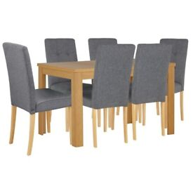 Ex display Adaline Ext Dining Table & 6 Chairs - Oak Effect