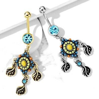 BEAD PAVED FILIGREE BELLY BUTTON RING NAVEL PIERCING JEWELRY (14G 3/8