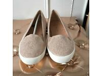 next size 5 dusty pink stud flats- wide fit