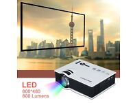 UC40 Mini HD 1080P 800 Lumens LED Projector Home Cinema PC HDMI VGA AV USB SD UK