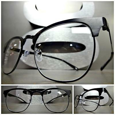 Men's Women VINTAGE RETRO Style Clear Lens EYE GLASSES Black Metal Fashion Frame