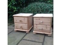 PAIR OF PINE BEDSIDE TABLE DRAWERS IN NATURAL FINISH IN EXCELLENT CONDITION