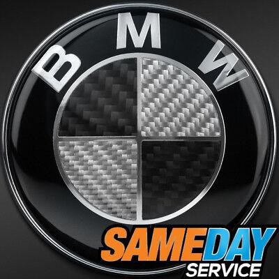 BMW Badge BLACK REAL CARBON FIBER Emblem Boot Bonnet 1 3 5 6 7 Z X E SERIES 82MM