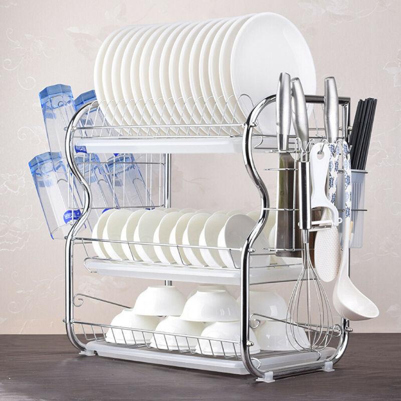 Dish Drying Rack 3-Tier Chrome Dish Drainer Rack Kitchen Sto