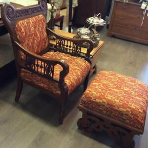 Antique Hand-Carved Mahogany Chair from 1880's - 1890's (Comes with Ottoman)