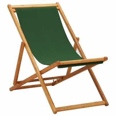 vidaXL Madera de Eucalipto Silla de Playa Plegable Tela Verde Asiento Piscina