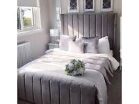 🔴🔵 BRAND NEW FULLY PACKED, PLUSH VELVET GREY DESIGNER BED IN DOUBLE FRAME ONLY 230 GBP🍝🍝