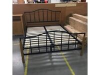 New king size black metal and wood bed frame