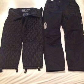 MOTORBIKE TROUSERS, TEXTILE, BLACK WITH DETACHABLE THERMAL LINER TROUSERS,