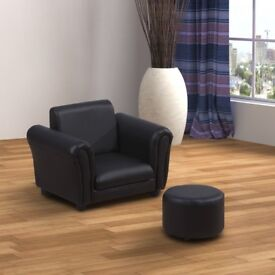 Kids Armchair With Footstool - Black (used) - Collection Only