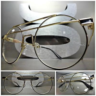 CLASSIC VINTAGE 70's RETRO Style Clear Lens EYE GLASSES Round Gold & Black (70s Style Glasses Frames)