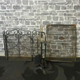 Metal Fireplace Screen Set with Cast Iron Tools