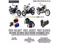 FREE HELMET,JACKET AND GLOVES WITH SELECTED BIKES AND SCOOTERS BEFORE XMAS AT KICKSTART MOTORCYCLES