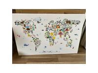 Canvas - Animal Map of World