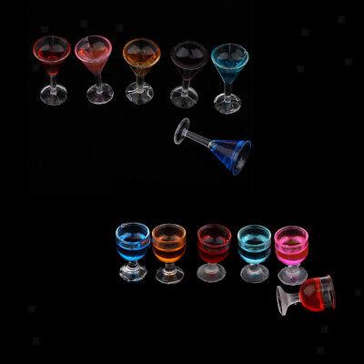 12 Stück Kunststoff Cocktail Gläser Becher für 1/12 Puppenhaus Küche Bar