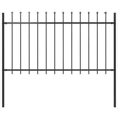vidaXL Garden Fence Spear Top Steel 1.7x1m Outdoor Panels Barrier Border