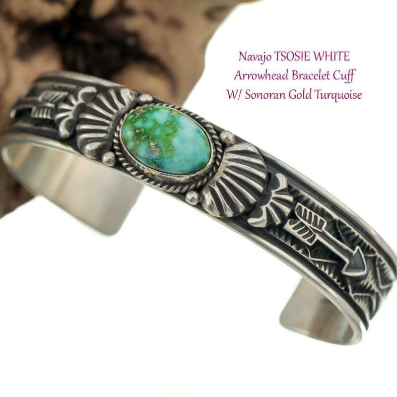 MENS Navajo Turquoise Bracelet  Sterling Silver SONORAN GOLD Arrowhead Cuff