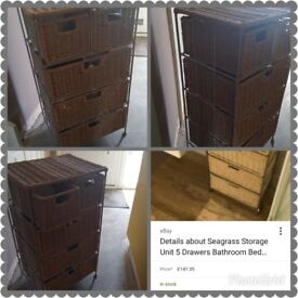 Seagrass storage unit & matching stair basket. Both in excellent conditio