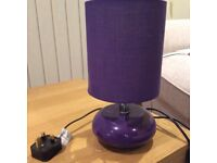 Bedside/ small purple table lamp