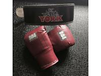 York weight lifting belt & boxing gloves