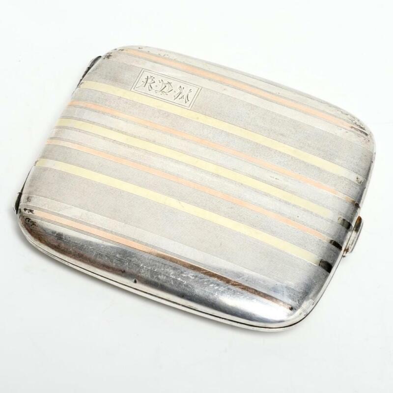 VINTAGE ART DECO STERLING CIGARETTE/CARD CASE W/ 14K GOLD BANDING