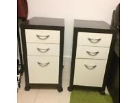 Two Bedside table cabinet black and white for £30