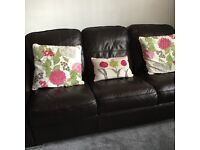 Brown leather 3 piece suite with puffe very good condition £200