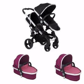 iCANDY PEACH BLOSSOM TWIN PUSHCHAIR BRAND NEW 2 CARRYCOT 2 SEAT BLACK MAGIC & FUSCHIA PINK SALE