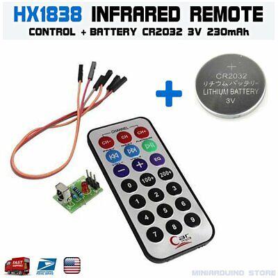 Hx1838 Arduino Infrared Ir Wireless Remote Control Sensor Cr2032 Battery