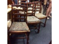 Set of 4 ladder back ding chairs