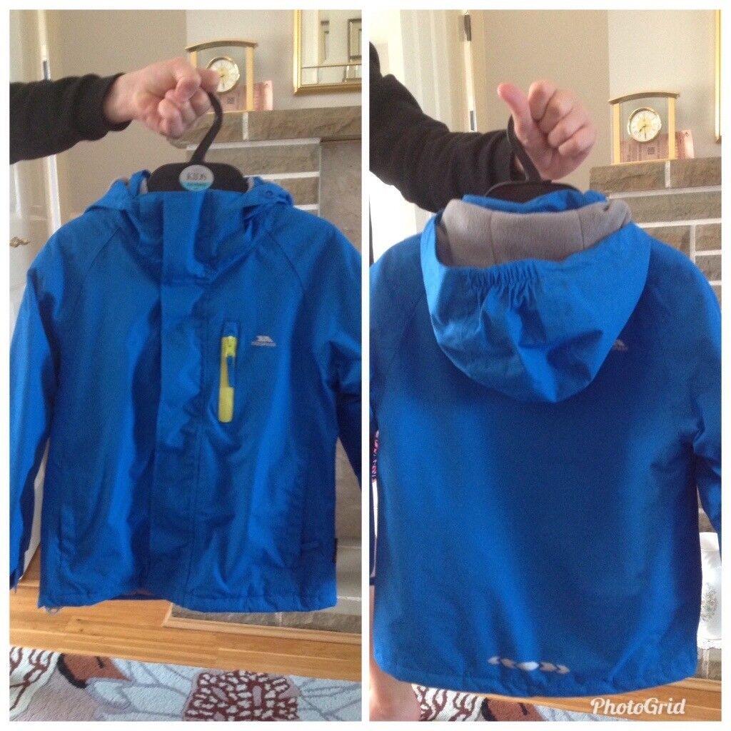 d7a88345c Boys age 5 6 years Trespass blue waterproof coat.