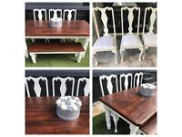 Farmhouse dining table, bench & 3 crushed velvet dining Chairs- shabby chic