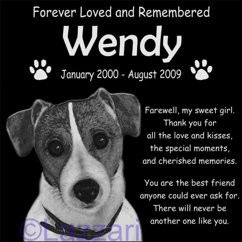 Personalized Jack Russell Terrier Dog Pet Memorial 12x12 Headstone Grave Marker