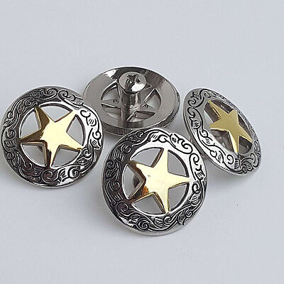 "Set of 4 1-1/8"" Silver Engraved Round Gold Star Concho W/ 1/4"" Screw Back"