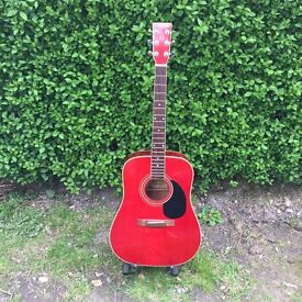 USED RED JIM DEACON DREADNOUGHT GUITAR