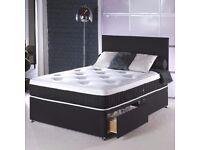 SINGLE DIVAN BED WITH ORTHOPEDIC MATTRESS AND HEADBOARD-IN BLACK AND WHITE COLORS-SAME DAY DELIVERY!