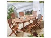 7 Piece Extendable FSC Hardwood Garden Table Dining Set *BRAND NEW* with Parasol £400 ono